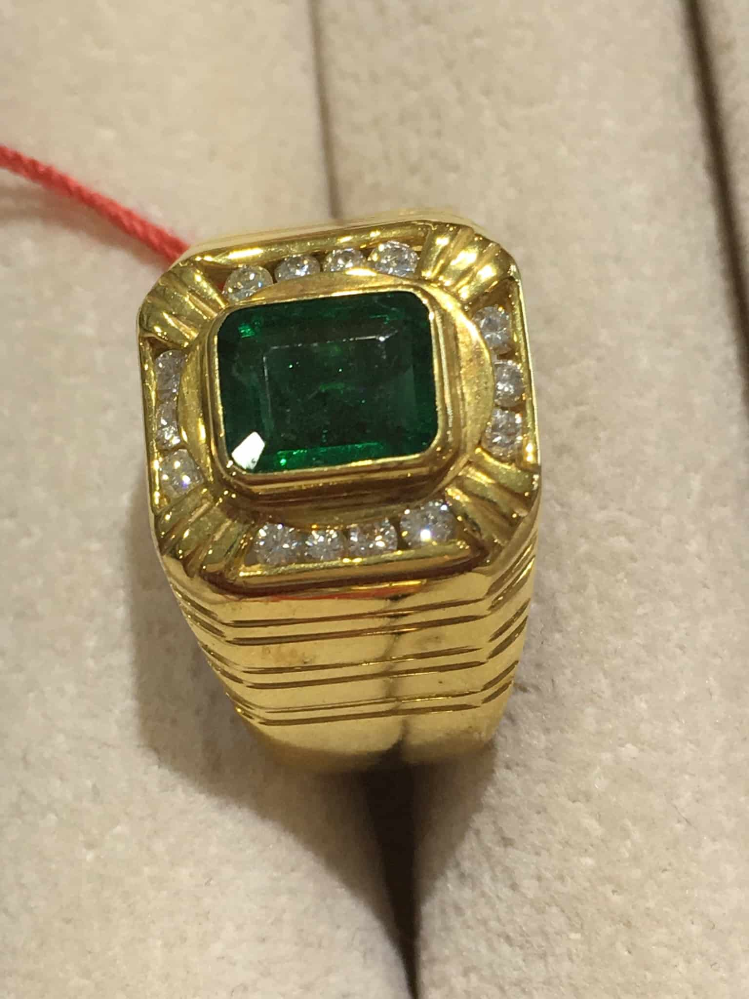 products deco ring emerald an jewellery unique art engagement two fullxfull tone gold vintage carat il