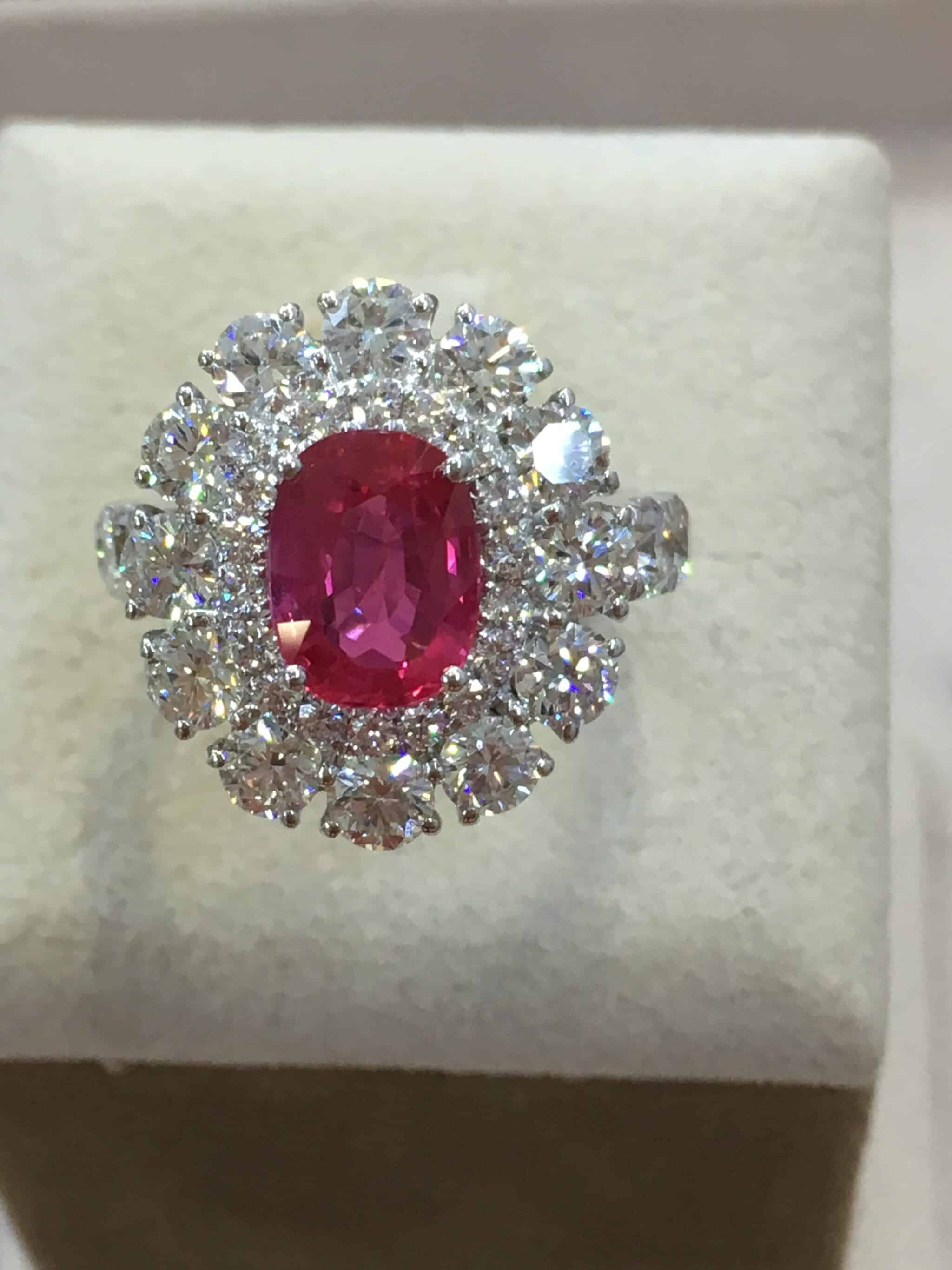 finest handmade ring jewellery rose the product london diamond contemporary ruby gold halo in